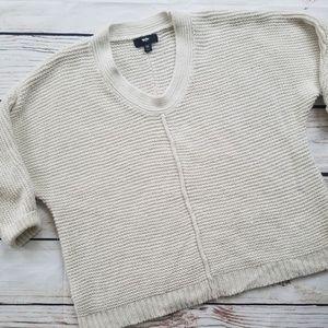 Mossimo Black Dolman Cream & Silver Knit Sweat